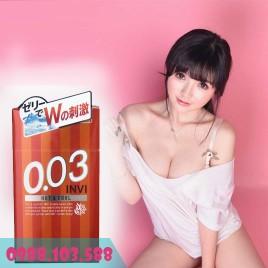 Jex Invi 0.03 Hot & Cool Bao Cao Su Siêu Mỏng Nóng Ấm Đầu Bao - Mát Lạnh Cuối Bao