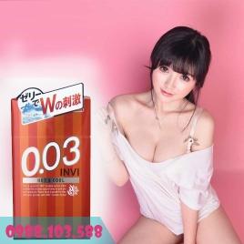bao cao su Jex Invi 0.03 Hot & Cool siêu mỏng nóng ấm đầu bao mát lạnh cuối bao